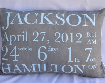 Birth Announcement Pillow baby gift birthday baby shower new baby baby girl baby boy baby pillow custom pillow