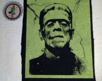 Frankenstein Screen Printed Sew On Punk Patch Green on Black Canvas