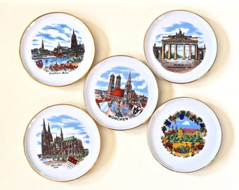 West German Porcelain Coasters Scenes of Germany Munich, Berlin, Stuttgart, Frankfurt, Koln