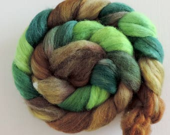 shetland,lama,silk,babyalpaca, Purtzeltroll, 4,2oz top, speckled dyed, fiber for spinning and felting, roving