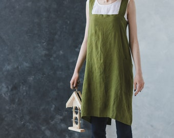 Linen Artisan Pinafore Green Moss / Japanese Style Apron / Cross Over Apron / Soft Cross Back Apron / Linen Apron Dress / No Ties Apron