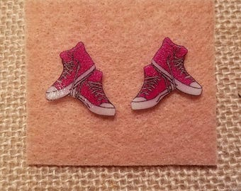 Pink Hightop Sneaker Stud Earrings, Converse, stocking stuffers, girls earrings, pink earrings, Christmas gifts, gifts for her, sneakers