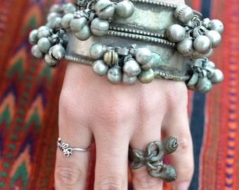 Bangles pair large chunky tribal Indian bell cluster bracelets arm cuffs Banjara Rajasthan, Kutchi ethnic, bellydance