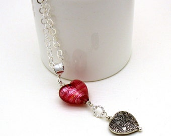 Pink Raspberry Heart Sterling Silver Pendant Minimalist Necklace    Murano Glass for Her Under 125