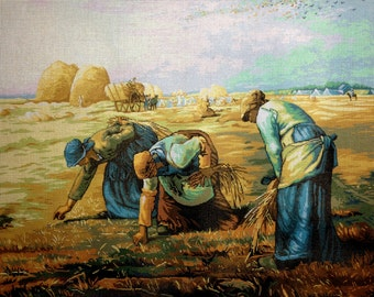 """Gobelin Tapestry Needlepoint Kit """"The Gleaners""""  Jean Francois Millet printed canvas 561"""