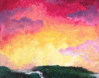 "Original Acrylic ""Sunset Meadow"" Painting ACEO art card by Amanda Shelton"