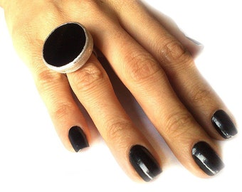 Black Onyx Silver Ring, statement ring, black ring, big black ring, black silver ring
