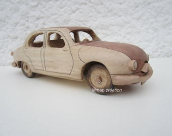 Wooden car with a Panhard Dyna Z scale 1: 24th.