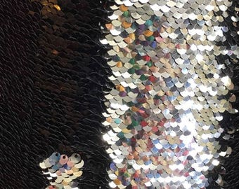 New Mermaid Reversible Sequin Shiny Black/shiny Silver On Stretch Fabric By Yard