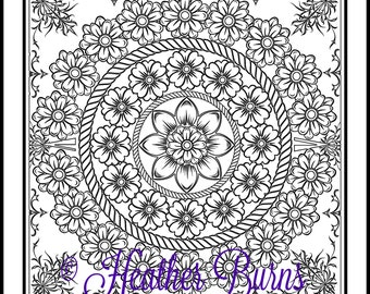 Coloring Page/Botanical Mandala to Color/Adult Coloring/Mandala Coloring