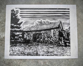 Barn with Tractor wood block print