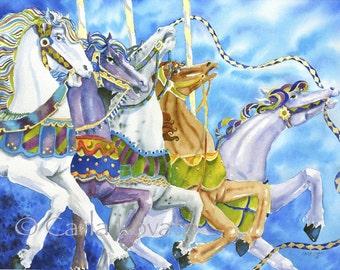 Carousel Horses, carousel painting, carnival art, circus painting, 8 x 10 Giclee Pint, Horse Painting, Circus horses,