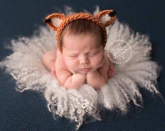 Knitting/Crochet PATTERN- Fox Bonnet, Newborn Sized