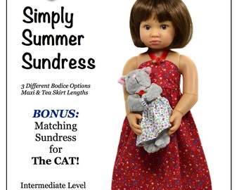 Pixie Faire Love U Bunches Simply Summer Sundress Doll Clothes Pattern for 18 inch  Kidz 'n' Cats - PDF