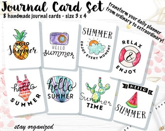 Summer Journal Cards Pocket Letters Project Life Journaling Cards Scrapbook Cards Assorted Cards Scrapbooking 3x4 Cards JC024