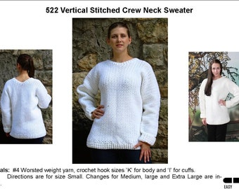 Vertical Stitched Crew Neck Sweater Crochet Pattern   522