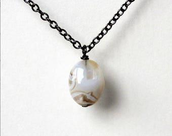 Single sea agate stone boho earthy simple casual minimalist necklace