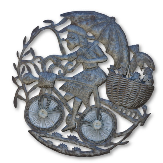 Man on Bike, Quality Handcrafted Haitian Metal Sculpture, One-of-a-Kind 24 x 23.5