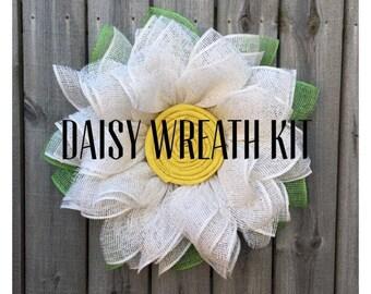 Daisy Wreath Kit, Burlap Wreath Kit, DIY Wreath, Daisy Wreath Tutorial