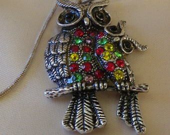 Vintage Silver Tone Bright Rhinestone Owl & Owlet Pendant Sterling Chain