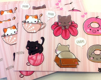 Stickers Sheet Kawaii & Cute Cats