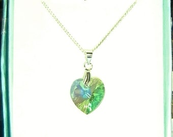 Handcrafted Sterling Silver Necklace With Genuine Swarovski Crystal Elements Birthstone Heart # August- Peridot