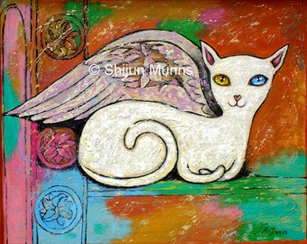 white angel cat-angel cat-cat print-animal lovers-cat lovers gift
