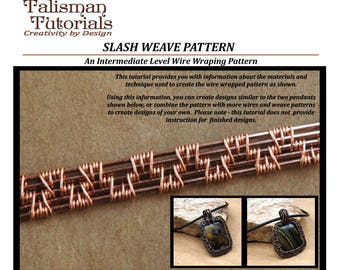 TUTORIAL: Wire Weaving Pattern, Slash Weave Design, Wire Wrap Copper Wire Jewelry Instruction, Intermediate Level Wire Weave Jewelry Lesson