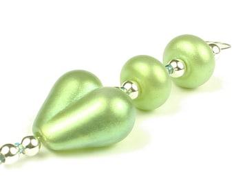 Green Trio  -   Handmade Lampwork Glass Beads