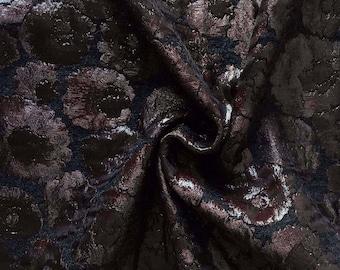 Brocade lurex black and Burgundy floral pattern Lanvi * 50x135cm couture
