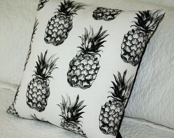 Pineapples - Black Print on White - Cushion Cover - 45 x 45cm Fruit