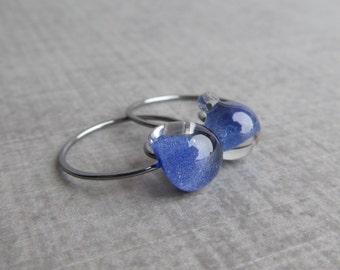 Indigo Hoops Oxidized Silver, Purple Blue Earrings, Lampwork Earrings Indigo Glass, Sterling Silver Oxidized Earrings, Glass Drop Hoops