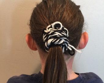 Black & White Finger Knitted Hair Scrunchy