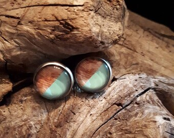 cabochon style earrings, wood and blue, 12 mm stainless steel