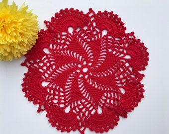 Crochet doily,red doily, table doily, home decor, birthday gift, Mother's Day, gift idea