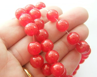 86 Red glitter glass beads B174