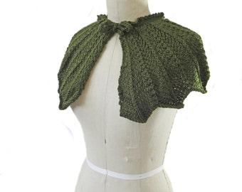 Green Wedding Capelet - Hand Knit Cape - Bridal Capelet