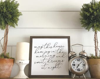 May this House have Joy in the Mornings & Sweet Dreams at Night Wood Sign - Gallery Wall Art - Home Decor - Farmhouse Decor