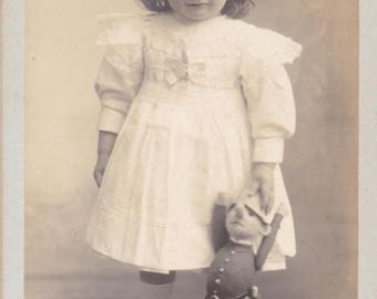 Little Girl With Pinocchio Doll - Antique French Carte De Visite Photograph
