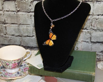 "Yellow / Gold  Butterfly Necklace Silver Toned Metal Alloy 24"" in length"