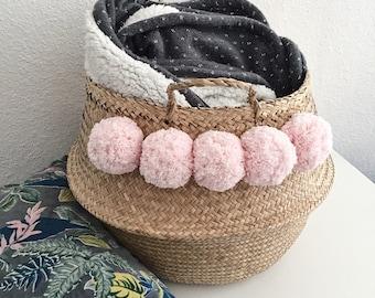 Natural XL Thai basket with soft 100% cotton pink tassels