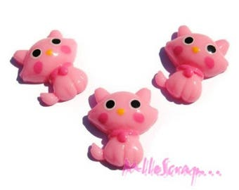 Set of 3 cats pink clear resin embellishment scrapbooking *.