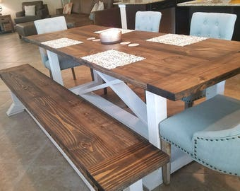 Trestle Farmhouse Table and matching bench