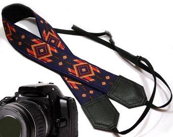 Native American (inspired) Camera strap.  Southwestern Ethnic Camera strap.  DSLR /SLR Camera Strap. Camera accessories.