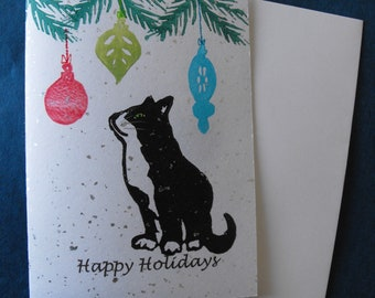 Original linocut block print, Christmas card on vintage silver sparkle Japanese paper, hand carved rubber stamps, Cute Christmas Cat