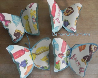 4 attractive spring Butterfly 3 d blue cardboard and paper