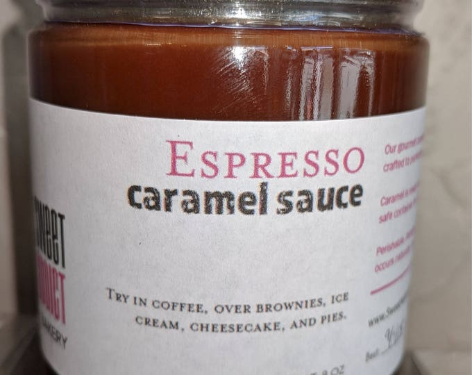Espresso Caramel Sauce - great for ICE CREAM sundaes, WAFFLES, cheesecakes, gifts, cupcakes, pies, coffee, hot chocolate, popcorn
