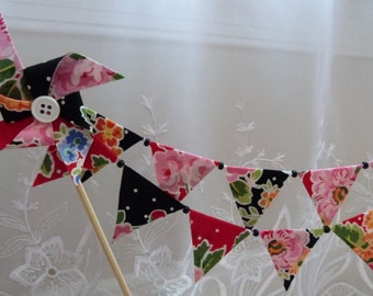 Wonderful Cottage Floral Picnic , Party, Birthday, Mini Cake Topper Bunting -  Flags Banner