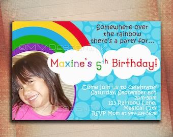 Rainbow 1st Birthday Invitations for Girls, Rainbow Party Invitations, Rainbow Birthday Party Invitations, Rainbow Birthday Invitation