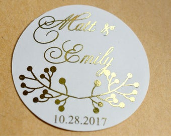 Custom Wedding  Stickers Product Labels Simple Thank You Wedding Favors Stickers Gift Wrapping Envelope Sticker Packaging Foil Stickers